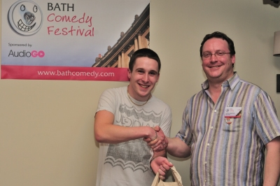 Larry Dean, winner of Bath Comedy Festival 2013 New Act Competition, with Festival Director Nick Steel